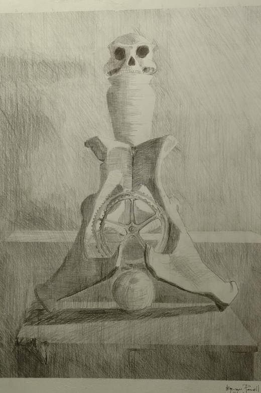 Still life of bones and vase - Graphite on Paper