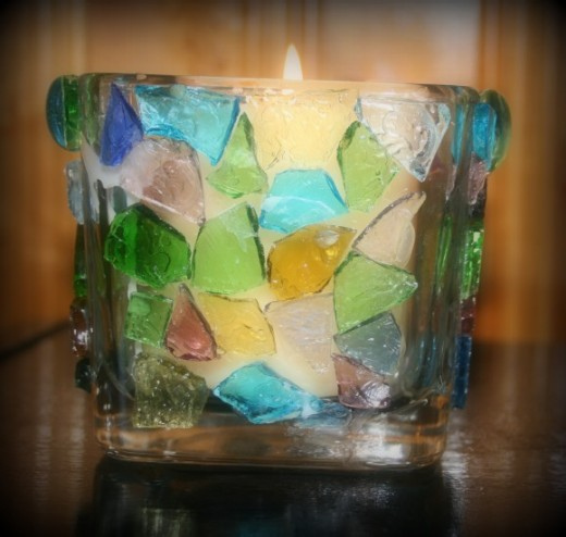 Cobble-glass votive holder.