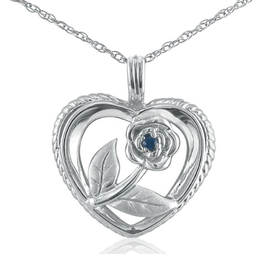 Sapphire Rose in Heart Necklace in Sterling Silver on an 18 Chain