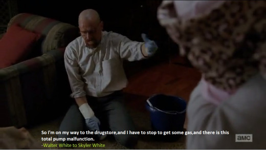 Walter cleans kerosene from floor, that was spilled by Pinkman