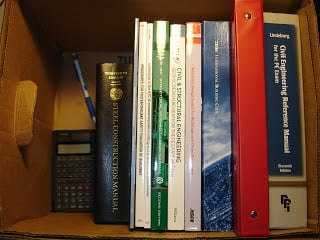 A well-chosen box becomes a handy book shelf. This makes switching reference books much faster and cleaner.