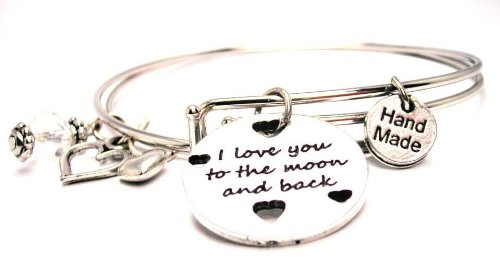 I Love You to the Moon and Back with Hearts Adjustable Wire Bangle Charm Bracelet