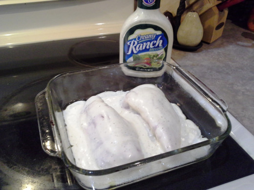 Step Five: Cover your chicken breasts with Ranch dressing
