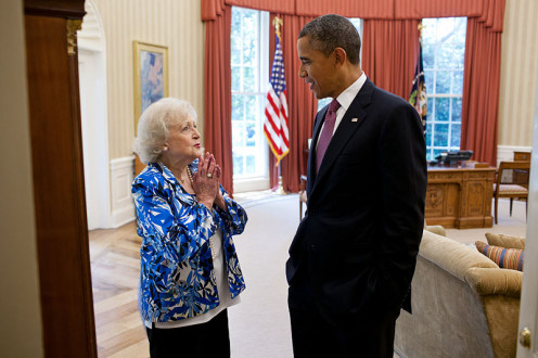 http://en.wikipedia.org/wiki/File:Betty_White_and_Barack_Obama_in_the_Oval_Office.jpg