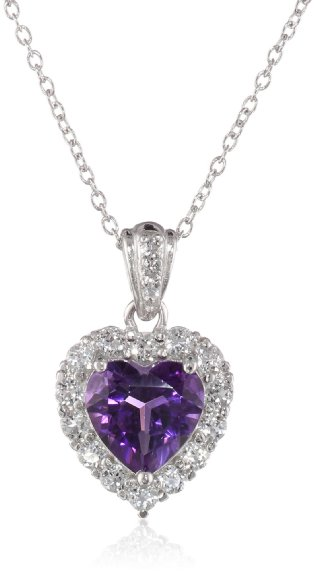 """Sterling Silver, Amethyst, and White Topaz Heart Pendant Necklace, 18"""""""
