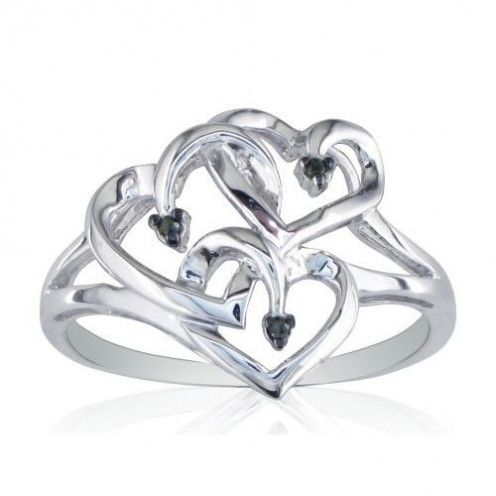 Black Diamond and Sterling Silver Triple Heart Ring [Jewelry]
