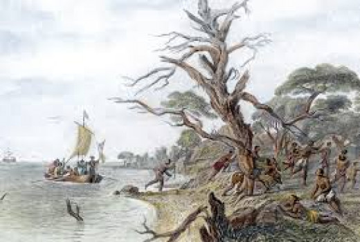you can see early settlers arrived at Roanoke colony in early colonization attempts.