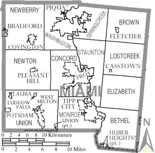 Map showing municipalities and townships of Miami County, Ohio