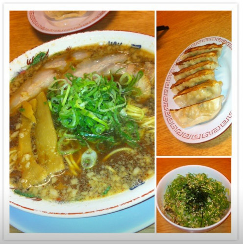 A Japanese style stew with fish and side dishes such as Gyoza are dumplings stuffed with a filling made of minced vegetables and ground meat.
