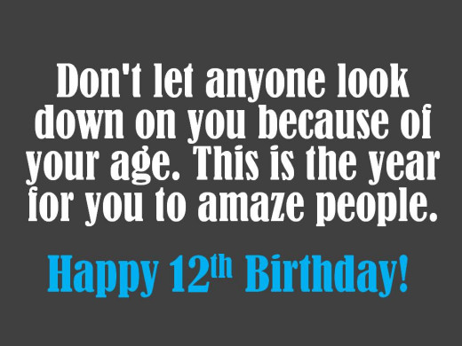Inspirational 12th birthday message