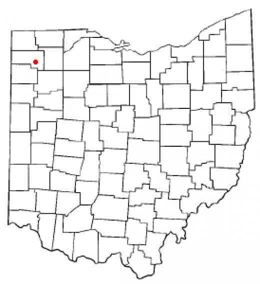 Red dot shows location of Defiance, Ohio, where historic Fort Defiance was located