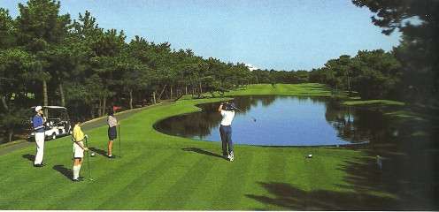 Miyazaki shows a guest taking advantage of the 99 hole championship golf course.