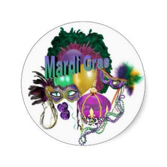 Fat tuesday stickers is also a popular party favor