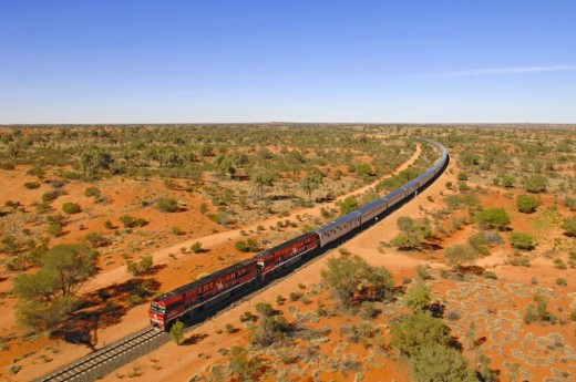 A Train Passing Over The Trans Australian Railway Line.