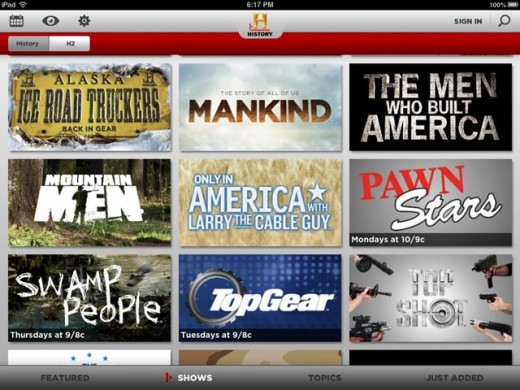 Typical History Channel lineup