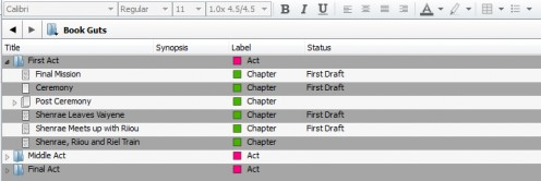 Scrivener makes breaking down a novel into acts and scenes a breeze. You can also change the status of each.