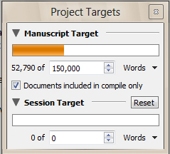 Project targets and session goals are a good way to keep on track with your writing.