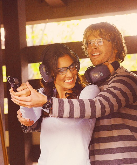 Detective Marty Deeks and Special Agent Kensi Blye at target practice.