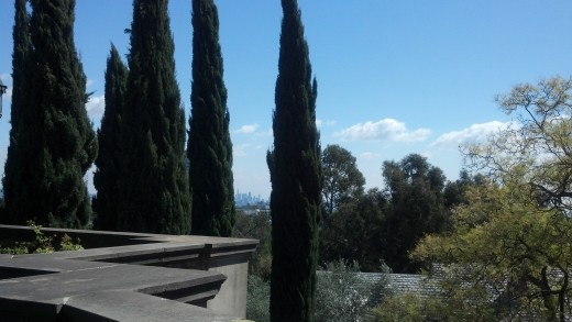 The view from one of the gardens at Greystone Mansion.