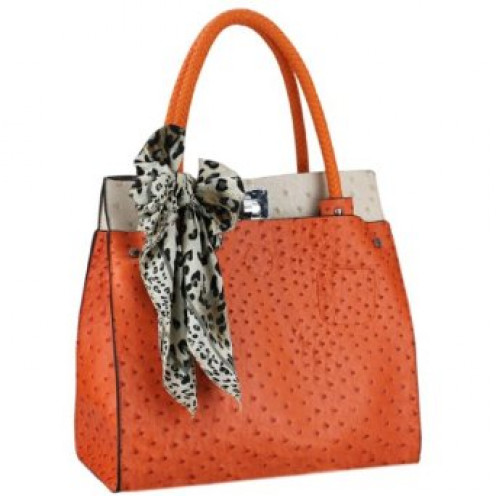 Orange / Beige Ostrich Embossed Shoulder Tote Style Handbag