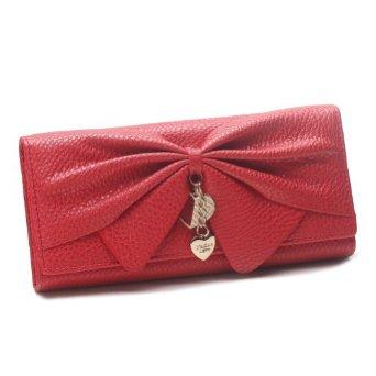 Damara Women Long Faux Leather Bifold Large Bow Design Wallet Handbag,Red