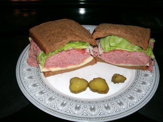 Corned beef on rye sandwich