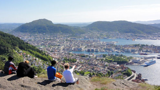 A (surprinsingly sunny) view of Bergen from the top of Mount Sandviken, overlooking Tomas Espedal's birthplace