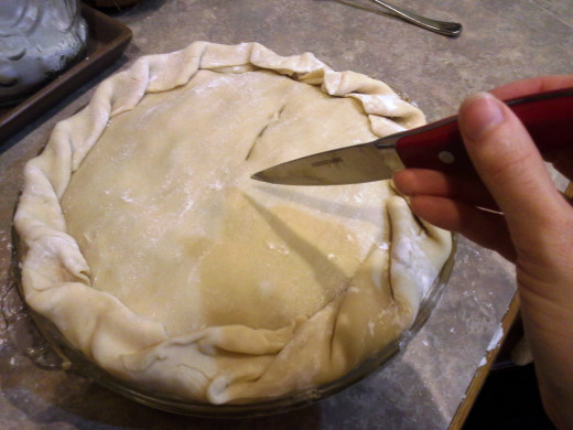 Step Thirty-six: Cut vents into the top of your pie
