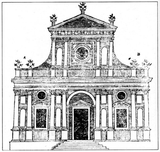 Drawing of Renaissance Era church by Italian Renaissance artist Sebastiano Serlio