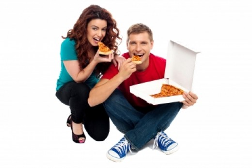 Sitting Young Couple Eating Pizza. Stock Image ID 100103666 By stockimages   25 September 2012