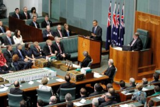 Obama addresses a joint sitting of the Australian Parliament