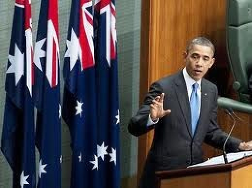 Obama addresses a joint setting of the Australian Parliament
