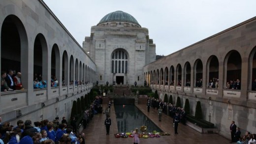 Australia's War Memorial during an ANZAC day ceremony