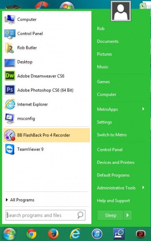 Ah, peace at last. A traditional Windows start menu and start button installed on Windows 8. Bliss!