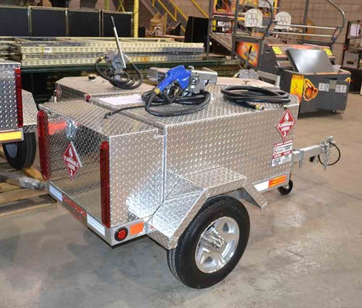 Gas trailers are available in a variety of sizes with some featuring manual fuel pumps while others come equipped with electric ones, depending upon your preference.