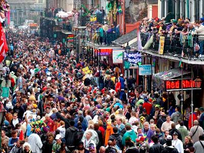 Mardi Gras on Bourbon Street in New Orleans -- a great time for all!