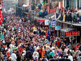 Mardi Gras on Bourbon Street in New Orleans