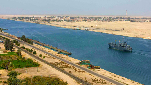 A Small Ship Passing Through The Suez Canal.