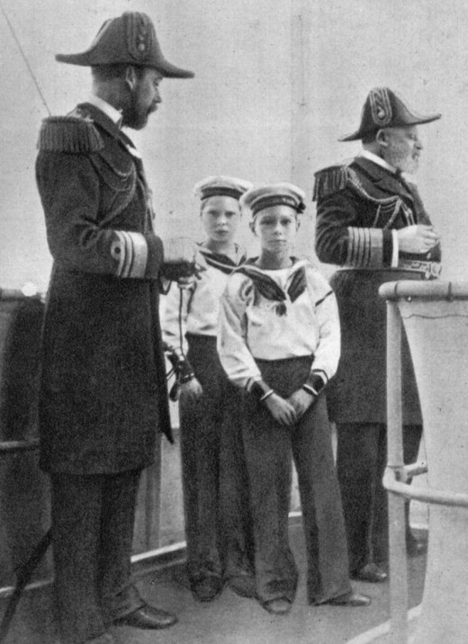 Edward VII of the United Kingdom together with his son, King George V and grandsons, Kings Edward VIII and George VI. Taken by Queen Alexandra.
