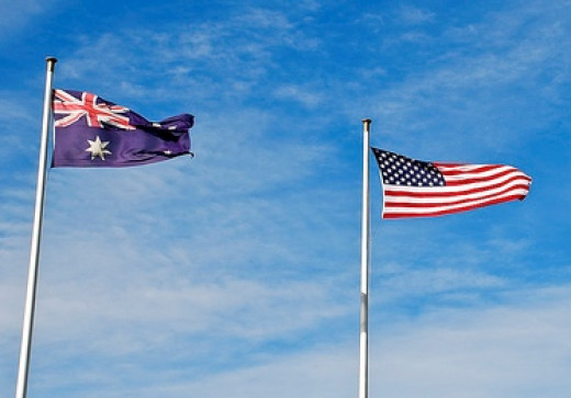 Australian and American flags fly side by side