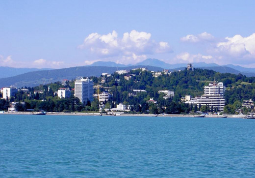 A picture of Sochi taken fromthe Black Sea.
