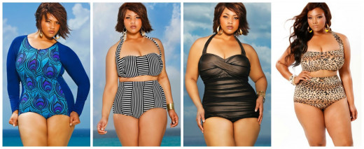 Monif C. Swim wear fashions, designed to show how beautiful full figured women can look in a bikini.