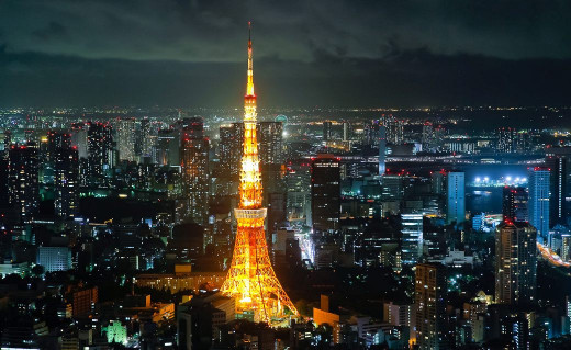 Aerial View Of Tokyo At Night.