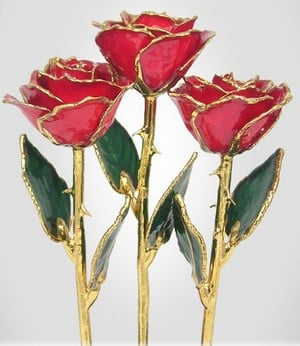 Real roses preserved and dipped in gold.
