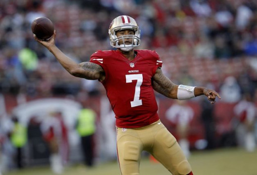 Colin Kaepernick can zip the ball downfield with a powerful arm