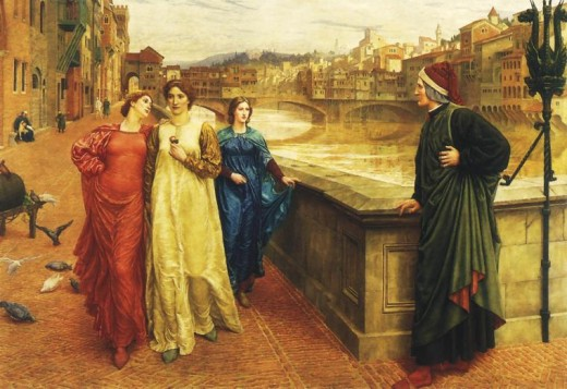Dante looks longingly at Beatrice Portinari (in yellow) as she passes by him with Lady Vanna (in red) in Dante and Beatrice, by Henry Holiday