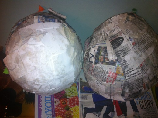 Dip the strips of newspaper and saturate them in the glue and flour mixture. Place the newspaper stips around and around the balloon. Once all newspaper is covered use white stips of paper.
