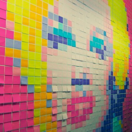 Post-it note mural of Marilyn Monroe.