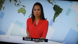 News reporter delivers the news
