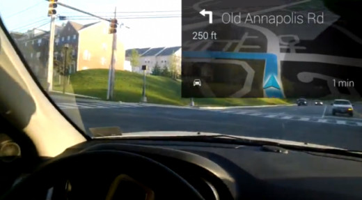 Google Glass providing navigation assistance